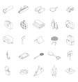 Camping icons set isometric 3d style vector image