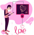 card love with pink heart vector image vector image