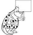cartoon dinosaur caveman holding a sign vector image