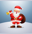 cartoon happy santa claus holding a bag and bell vector image