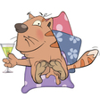 Cat and champagne cartoon vector image vector image