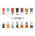 cat paws hand drawn funny puppies and kittens vector image vector image