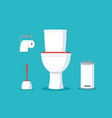 ceramic toilet bowl with paper roll and brush vector image vector image