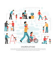children dad parenting infographics vector image vector image