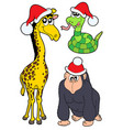 christmas animals collection 2 vector image