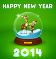 christmas elf and christmas deer inside ball vector image vector image