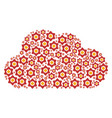 cloud figure of flower icons vector image vector image