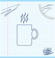 coffee cup flat line sketch icon isolated on white vector image