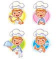 cook chef portraits in different situations vector image