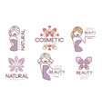 cosmetic salon premium quality labels set natural vector image vector image