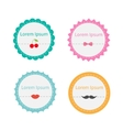 Cute round tag label set with dash line cherry bow vector image vector image