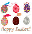Easter eggs with patterns and banner vector image vector image