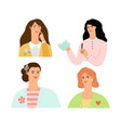 elegant women avatars vector image