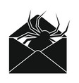 flat black mail letter icon vector image vector image
