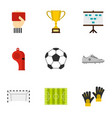 football championship icons set flat style vector image