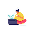 freelance girl with laptop at home vector image vector image