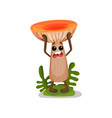 funny surprised mushroom character with human face vector image
