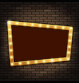 gold frame with light bulbs on the red brick wall vector image vector image