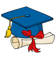 Graduate Blue Cap With Diploma vector image vector image