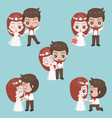 groom and bride cute character for use as wedding vector image vector image