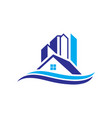 home building cityscape wave logo image vector image vector image