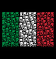 italian flag collage of flag items vector image