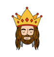 jesuschrist with crown character religious icon vector image vector image