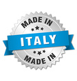 made in Italy silver badge with blue ribbon vector image vector image