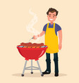 man is cooking a barbecue grill fry meat vector image