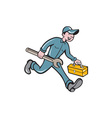 Mechanic Carrying Toolbox Spanner Isolated Cartoon vector image vector image