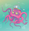 Octopus Wearing Captain Hat and Goggles vector image