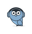 owl logo with headphone vector image vector image