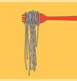 pasta spaghetti into folk menu poster vector image