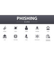 phishing simple concept icons set contains such vector image vector image