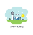 Plane and Airport building Flat Design vector image