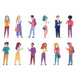 pretty people in masks with smartphones character vector image vector image