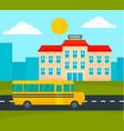 school bus driving to school background flat vector image vector image