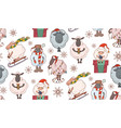 seamless texture with colorful christmas cartoon vector image