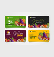 set discount cards for grocery food store with vector image vector image