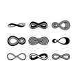 set infinity symbols black contours of vector image