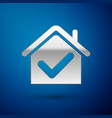 silver house with check mark icon isolated on blue