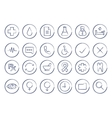 Sketch medical linear icons set vector image