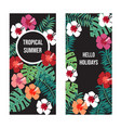 summer banners with tropical leaves and flowers on vector image vector image