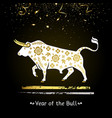 symbol year white bull with gold vector image vector image