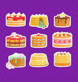 tasty cakes stickers set delicious sweet desserts vector image