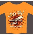 Tee with skateboard vector image vector image