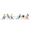 two groups of people pulling opposite ends of rope vector image vector image