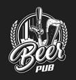 vintage beer pub logotype concept vector image
