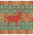 Vintage christmas deer pattern vector image