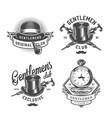 vintage monochrome gentleman emblems set vector image vector image